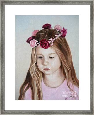Framed Print featuring the painting Portrait Of Kristinka by Jindra Noewi