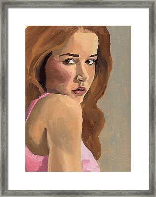 Framed Print featuring the painting Portrait Of Laia by Stephen Panoushek