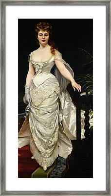 Portrait Of Mademoiselle X Framed Print by Charles Emile Auguste Carolus Duran