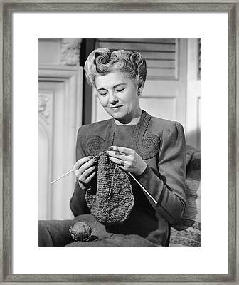 Portrait Of Mature Woman Crocheting Framed Print by George Marks