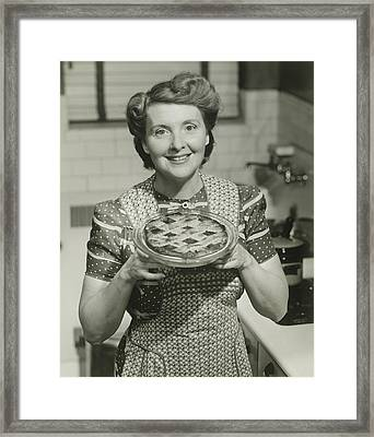 Portrait Of Mature Woman Holding Pie Framed Print by George Marks