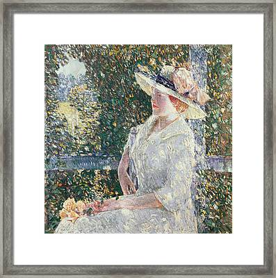 Portrait Of Miss Weir Framed Print by Childe Hassam