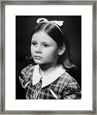 Portrait Of Sad Young Girl Framed Print by George Marks
