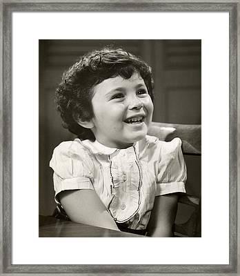 Portrait Of Smiling Little Girl Framed Print by George Marks