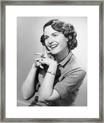 Portrait Of Smiling Woman Framed Print by George Marks