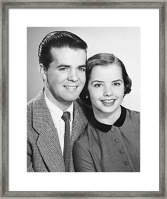 Portrait Of Teenage Couple Framed Print by George Marks