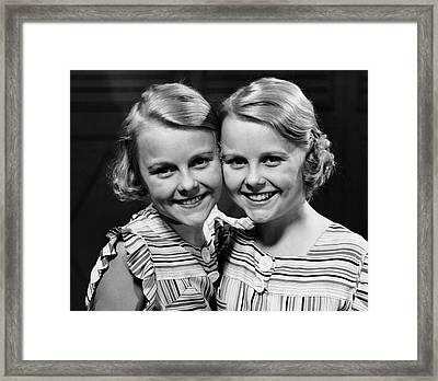 Portrait Of Twin Girls Indoor Framed Print by George Marks