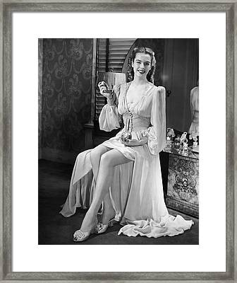 Portrait Of Woman At Vanity Table Framed Print by George Marks