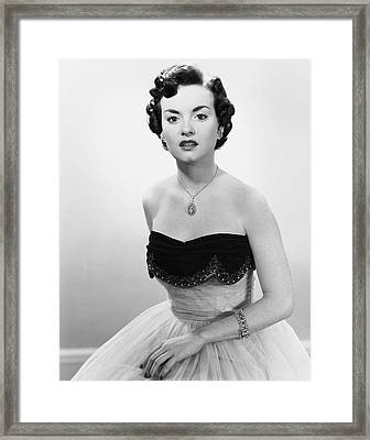 Portrait Of Woman In Evening Wear & Jewelry Framed Print by George Marks