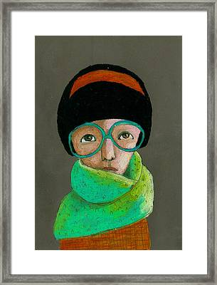 Portrait Of Woman With Glasses Framed Print by Jenny Meilihove