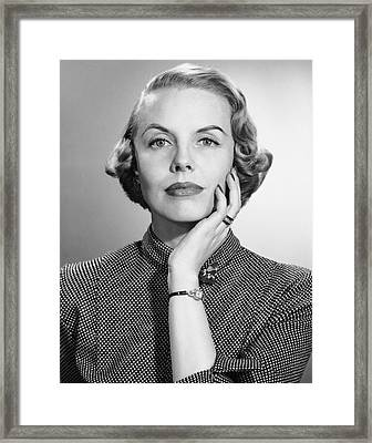 Portrait Of Woman With Wrist Watch & Ring Framed Print by George Marks