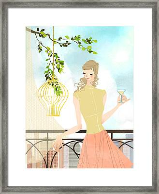 Portrait Of Young Woman Holding Wineglass Framed Print by Eastnine Inc.