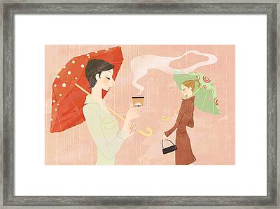 Portrait Of Young Woman In The Rain Holding Umbrella And A Takeaway Coffee Framed Print