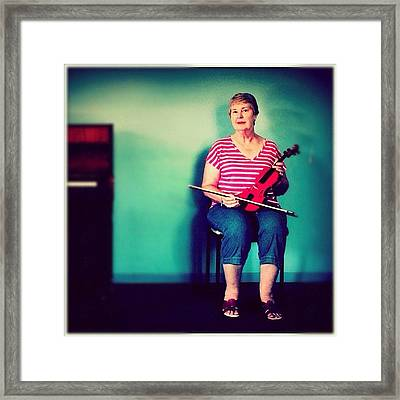 #portrait #pinup #studio #violin #music Framed Print