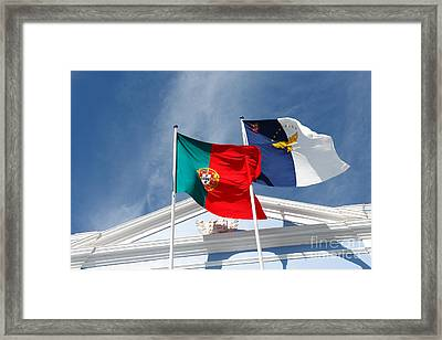 Portugal And Azores Flags Framed Print by Gaspar Avila
