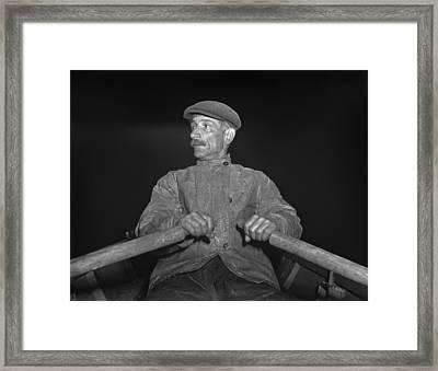 Portuguese Dory Fisherman Rowing Framed Print