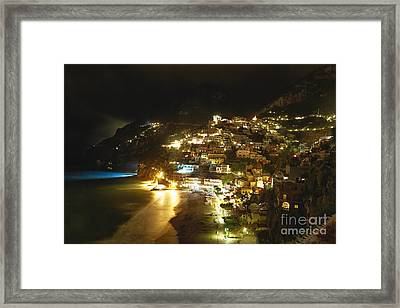 Positano Nightscape Framed Print by George Oze