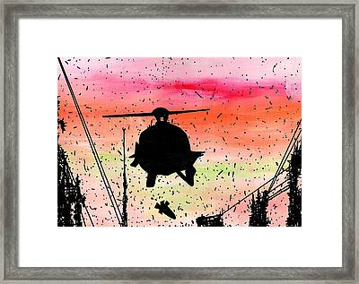 Post Apocalyptic Helicopter Skyline Framed Print by Jera Sky