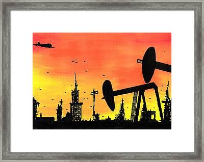 Post Apocalyptic Oil Skyline Framed Print by Jera Sky