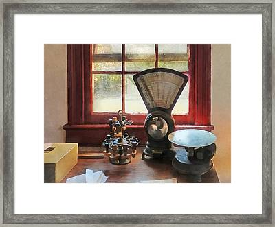 Postage Scale And Rubber Stamps Framed Print