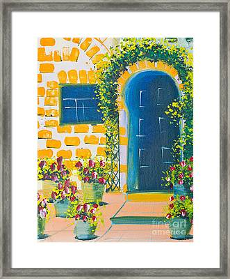 Poster Color Drawing Door And Flowers Framed Print by Mongkol Chakritthakool