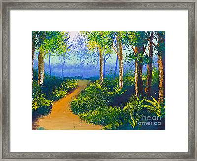 Poster Color Drawing Walk Way In Forest Framed Print by Mongkol Chakritthakool