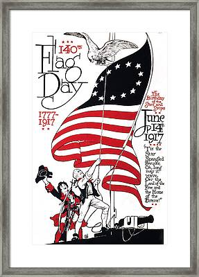 Poster For 140th Flag Day, 1777-1917 Framed Print by Everett