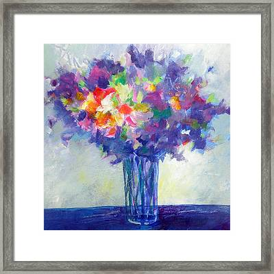 Posy In Lavender And Blue - Painting Of Flowers Framed Print by Susanne Clark