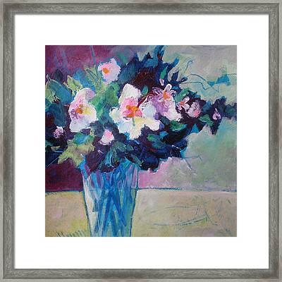 Posy In Magenta And Blue Framed Print by Susanne Clark