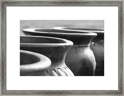 Pots In Black And White Framed Print by Kathy Clark