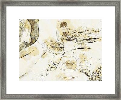 Potter In Brown Water Sketch Framed Print