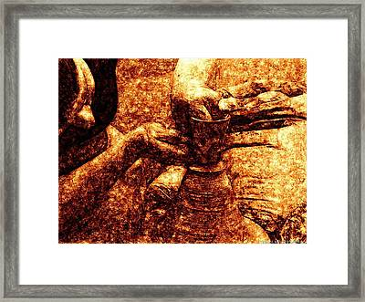 Potter In Classic Caravaggion Oil Framed Print by James Stanfield