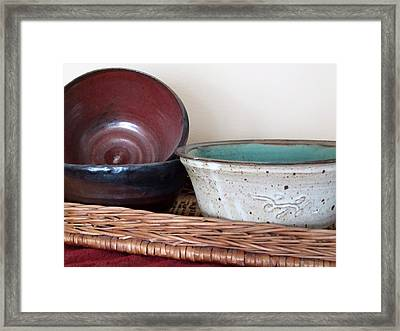 Pottery In A Basket Framed Print by Kathy Sheeran