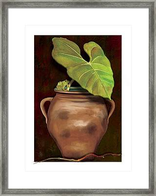 Framed Print featuring the painting Pottery Jar by Anne Beverley-Stamps