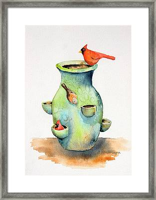 Pottery Vase And Birds Framed Print by Arline Wagner
