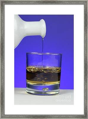 Pouring Oil Into Vinegar Framed Print by Photo Researchers, Inc.