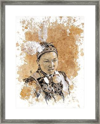 Pow Wow Girl Framed Print by Debra Jones