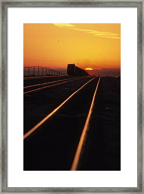 Powder River Sunset Caboose Framed Print by Susan  Benson