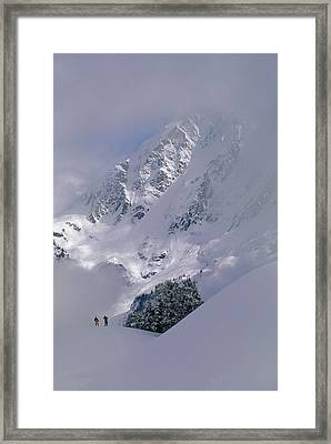 Powder Skiers Head Out-of-bounds Framed Print by Gordon Wiltsie