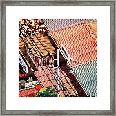 Power Lines And Roofs Framed Print