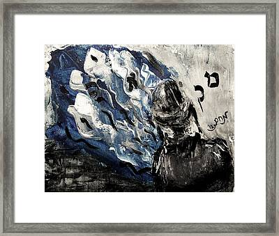 Framed Print featuring the painting Power Of Prayer With Hasid Reading And Hebrew Letters Rising In A Spiritual Swirl Up To Heaven by M Zimmerman