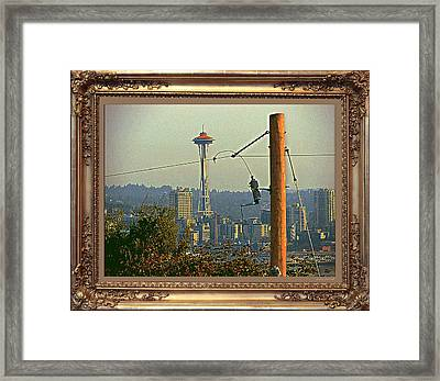 power Poles as Art - 6 Framed Print by Larry Mulvehill