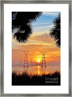 Powerline Sunrise Framed Print