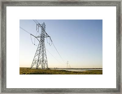Powerlines Jepson Prairie Preserve Framed Print by Sebastian Kennerknecht