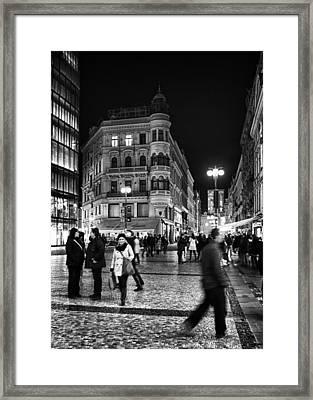 Prague At Night Framed Print by Stelios Kleanthous