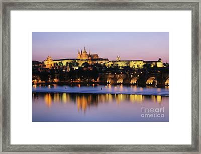Prague Castle On The Riverbank Framed Print by Jeremy Woodhouse