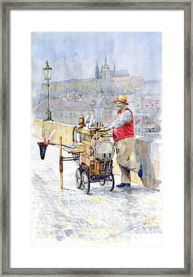 Prague Charles Bridge Organ Grinder-seller Happiness  Framed Print by Yuriy  Shevchuk