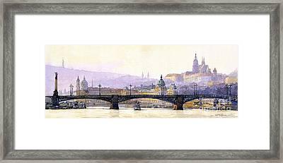 Prague Panorama Cechuv Bridge Variant Framed Print by Yuriy  Shevchuk