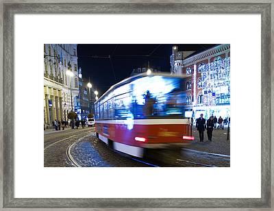 Prague Tram Framed Print by Stelios Kleanthous