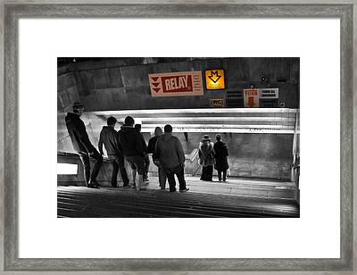 Prague Underground Station Stairs Framed Print by Stelios Kleanthous